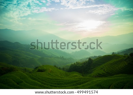 Mountain landscape of Longsheng Rice Terrace, Guilin, China, famous for the large numbers of terraced rice paddy fields on its mountain, producing an intricate pattern on the hillside.