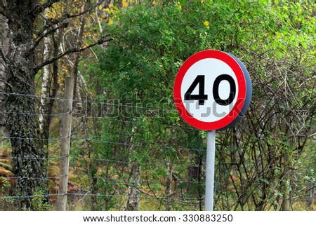 40 MPH road sign - stock photo