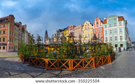 41 mpx Panoramic view of architecture medieval facades Market Square, one of the largest medieval squares in Europe. Wroclaw, Poland. EU. - stock photo