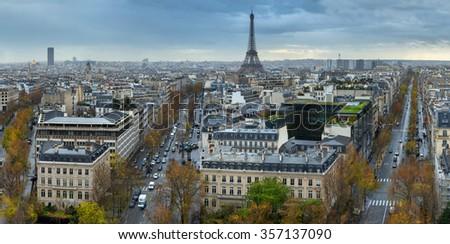 49 mpx Panoramic view of Paris from the Arc de Triomphe. Autumn. Rain. Sun. - stock photo