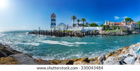 79 MPx Panoramic View of Santa Marta lighthouse and Municipal museum of Cascais, in Portugal. - stock photo