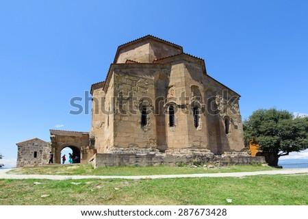 MTSKHETA, GEORGIA - JULY 29, 2013: Jvari Monastery, Georgian Orthodox monastery (UNESCO World Heritage site) - stock photo
