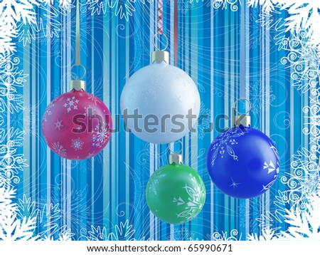 4 multi-colored New Year's and Christmas balls on tape on blue background