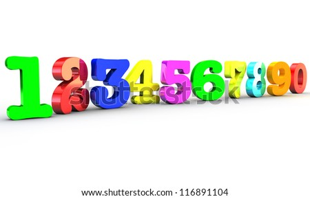 123 Multicolor numbers over white background