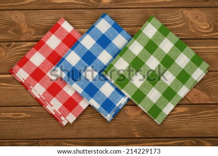 multicolored napkin on a brown background