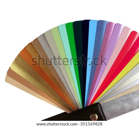 multicolored Venetian blinds color chart-instrument for designer, isolated on white - stock photo