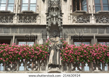 Munich City Hall as Example of Gothic Revival Architecture - stock photo