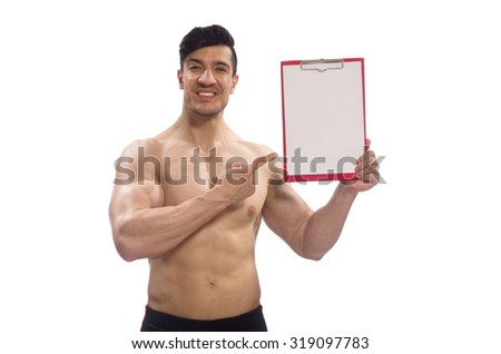 Muscular man with blank pad for your message