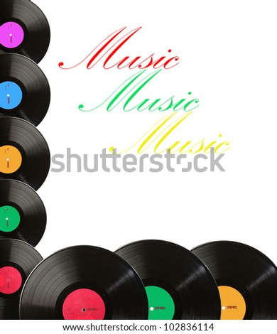 Music. Colorful background made of vintage vinyl records. Your text - stock photo