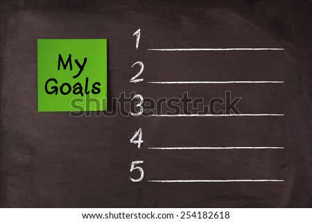'My Goals' note pasted on blank blackboard which can be background for you text. - stock photo