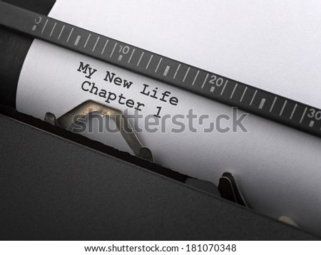 """""""My new life"""" message typed by vintage typewriter. Concept for fresh start - stock photo"""