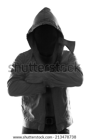 mysterious man killer holding axe in silhouette isolated on white background with clipping path - stock photo
