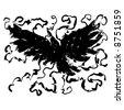 """Mystical Crow"" b&w line art mystical bird in flight - stock photo"