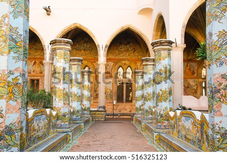NAPLES - ITALY - ON  11/13 /2016 - THE CLOISTER OF SANTA CHIARA WITH MAJOLICA TILES