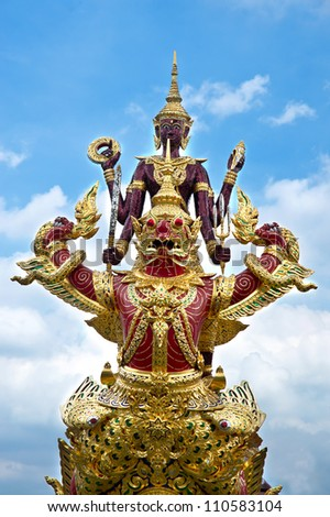 Narai and Garuda statue. - stock photo