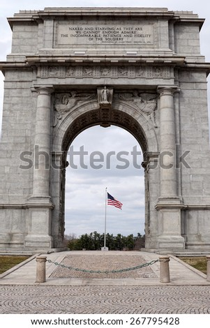 National Memorial Arch in Valley Forge Historic Park, Pennsylvania USA                               - stock photo