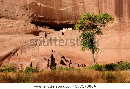 native american ruins at canyon de chelly national monument, arizona    - stock photo