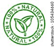 100% Natural Stamp Showing Pure And Genuine Products - stock photo
