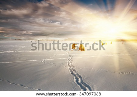natural vintage winter  background, fishing on ice, - stock photo