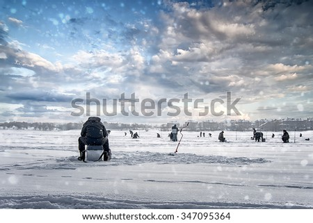 natural winter  background, fisherman on ice, - stock photo