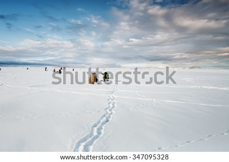 natural winter  background, fishing on ice, - stock photo