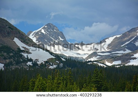 navajo  peak as seen from brainard lake in the indian peaks wilderness areal, colorado