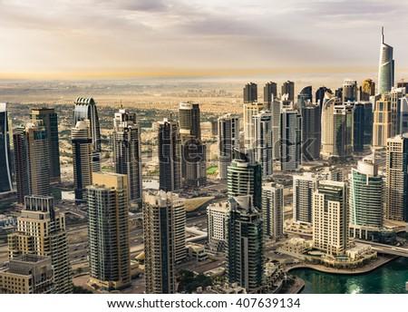 2nd April, 2016 - Dubai, UAE: Top view of Dubai JLT from Princess tower - stock photo