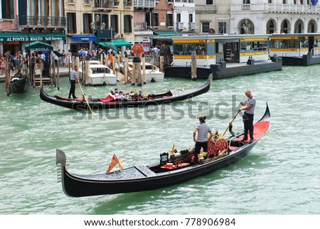 2nd of August 2012 - Scene from Canal Grande with gondolas, Venice, Italy