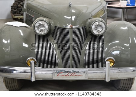 7/7/18 near Palm Springs California 1939 Cadillac staff car at the George Patton Museum front grill detail