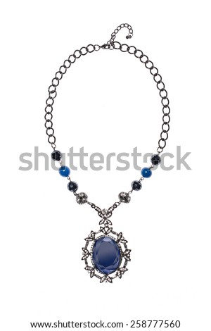 necklace with blue gem on a white background - stock photo