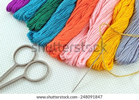 Needle and colored  thread for cross stitching on canvas