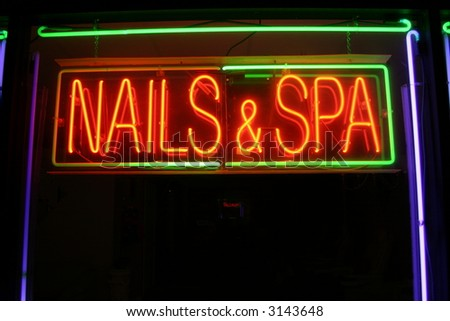 """""""neon sign series"""" """"nails & spa"""" - stock photo"""