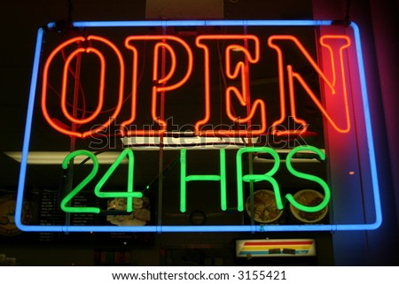 """neon sign"" series ""open 24 hrs"" - stock photo"