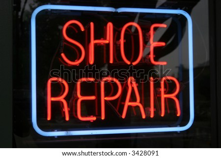 """Neon Sign Series"" ""shoe repair"""