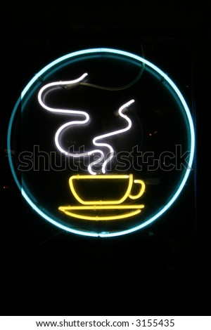 """""""neon sign"""" series """"steaming coffee cup"""" - stock photo"""