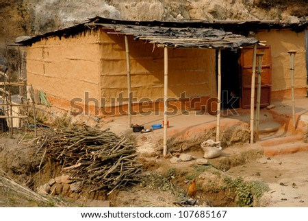 Nepalese house in countryside of Nagagrot trekking route near Kathmandu capital city in Nepal.