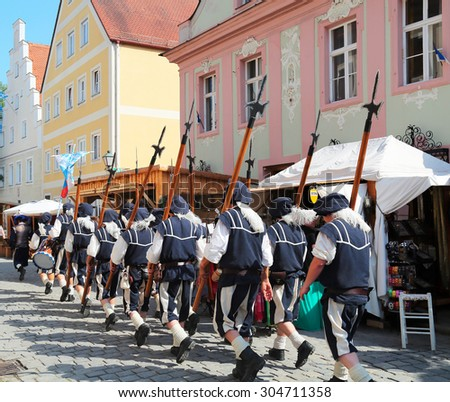 NEUBURG AN DER DONAU - JULY 5: historical soldiers at the festival on July 5, 2015 in Neuburg, Germany. This is annually folk festival in renaissance city Neuburg in Bavaria, Germany - stock photo