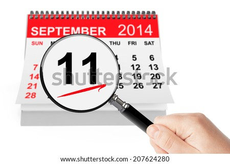 911 Never Forget Concept. 11 september 2014 calendar with magnifier on a white background - stock photo