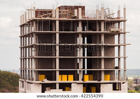 new building high-rise building close - stock photo