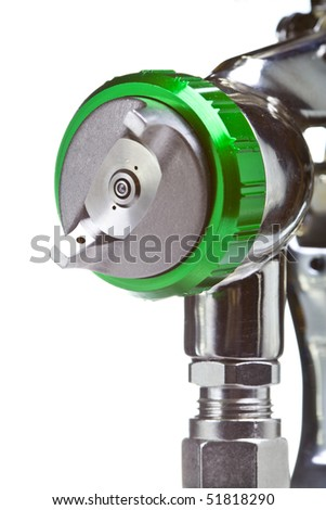 New metal brilliant Spray gun closeup - stock photo