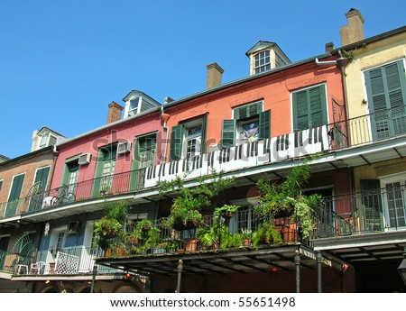 New Orleans French Quarter 3 block - stock photo