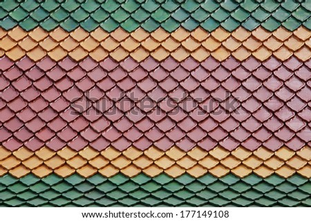 new roof tiles of Thai temple - stock photo