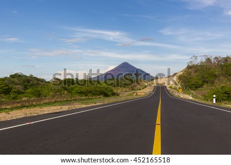 New scenic road with a fantastic view of Momotombo Volcano, Nicaragua