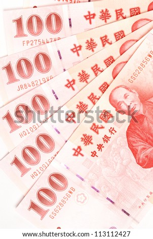 100 New Taiwan Dollar bill on white  background