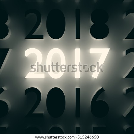 2017 New Year and Merry Christmas concept. Luminous and dark number symbols on wall. 3D illustration