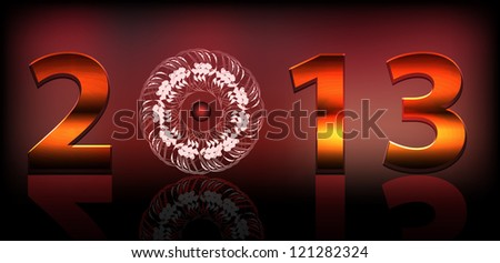 2013 New Year background with ornament - stock photo