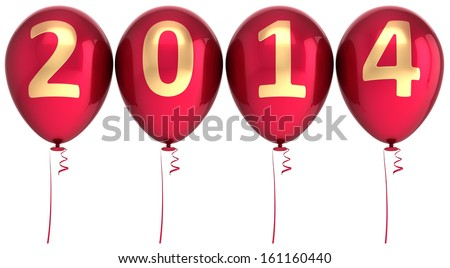 2014 New Year balloons party decoration. Winter celebration helium balloon. Future beginning calendar date greeting card congratulation banner. Detailed 3d render. Isolated on white background - stock photo