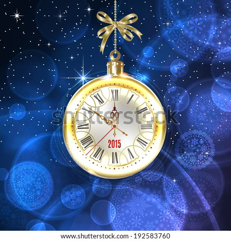 2015 new year. Beautiful, vintage clock hands show 10 minutes to midnight. Holidays card. Time to celebrate. Place your text at the bottom. Illustration.   - stock photo