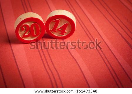 2014 new year - bingo numbers - stock photo