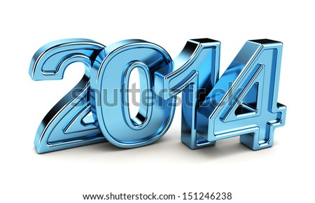 2014 New Year blue metal number on the white background. - stock photo